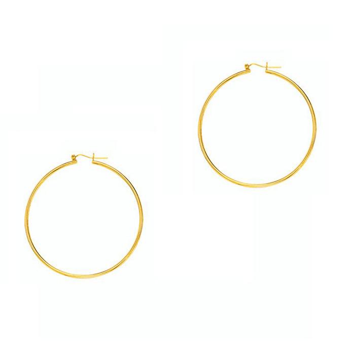 14K Yellow Gold (1.4 g) Polish Finished 30mm Hoop Earrings w/ Hin