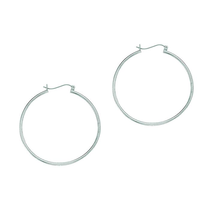 14 Karat White Gold Polish Finished 40mm Hoop Earrings With Hinge Notched Closure Item Number Jwl 18512