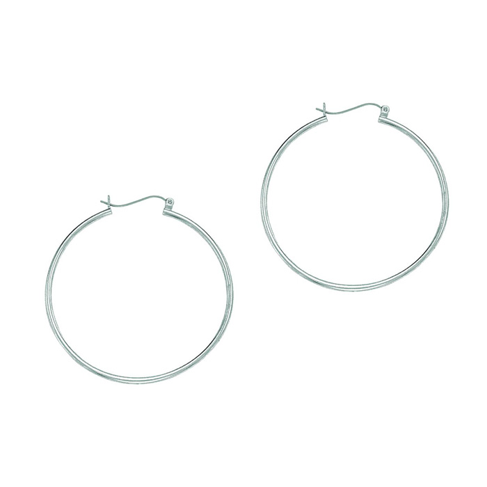 14K White Gold (1.5 g) Polish Finished 40mm Hoop Earrings w/ Hing