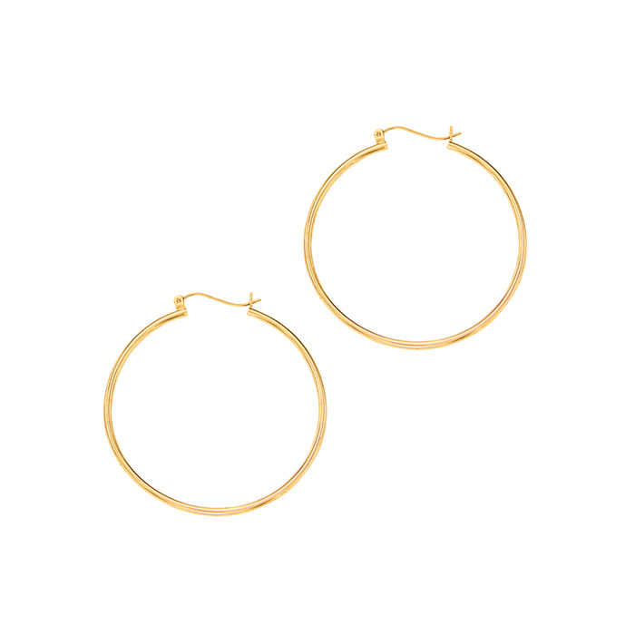 14K Yellow Gold (1.5 g) Polish Finished 40mm Hoop Earrings w/ Hin