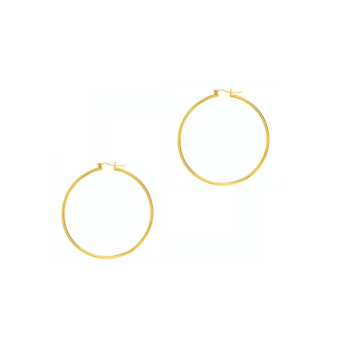 14K Yellow Gold (1.7 g) Polish Finished 40mm Hoop Earrings w/ Hin