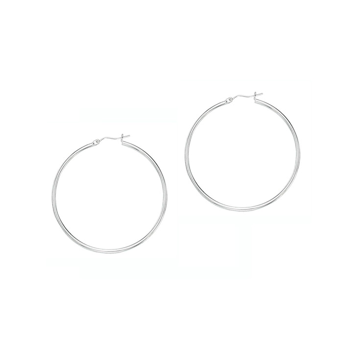 14K White Gold (1.7 g) Polish Finished 40mm Hoop Earrings w/ Hing