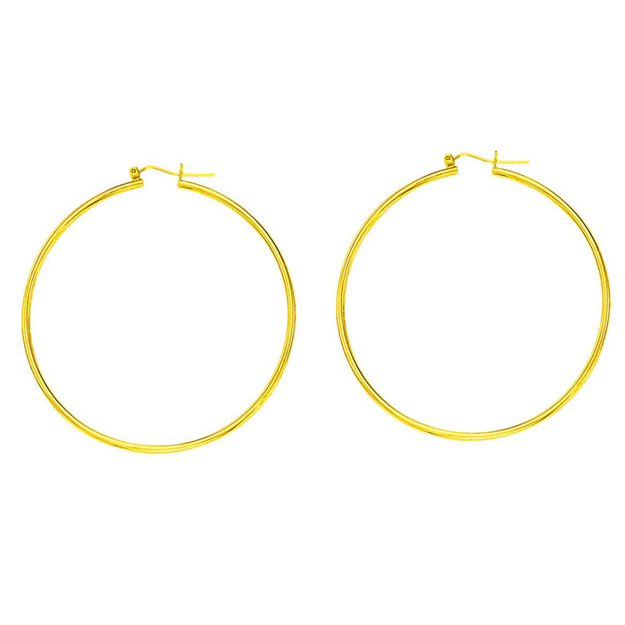 14K Yellow Gold (2 g) Polish Finished 45mm Hoop Earrings w/ Hinge