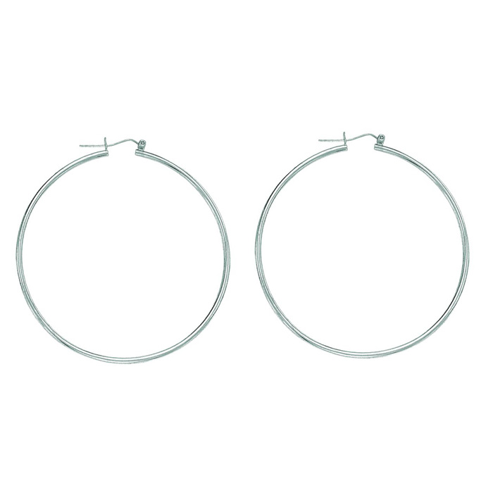 14K White Gold (2.1 g) Polish Finished 45mm Hoop Earrings w/ Hing