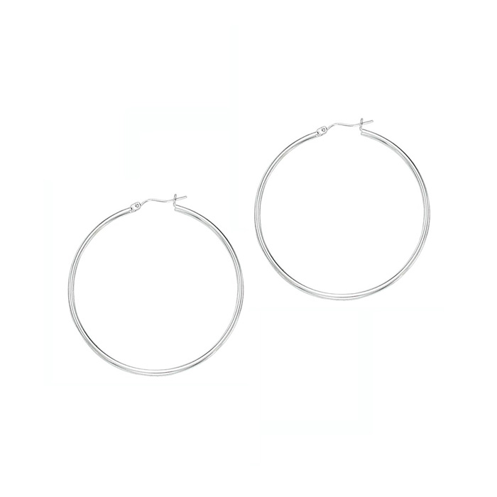 14K White Gold (2.8 g) Polish Finished 50mm Hoop Earrings w/ Hing