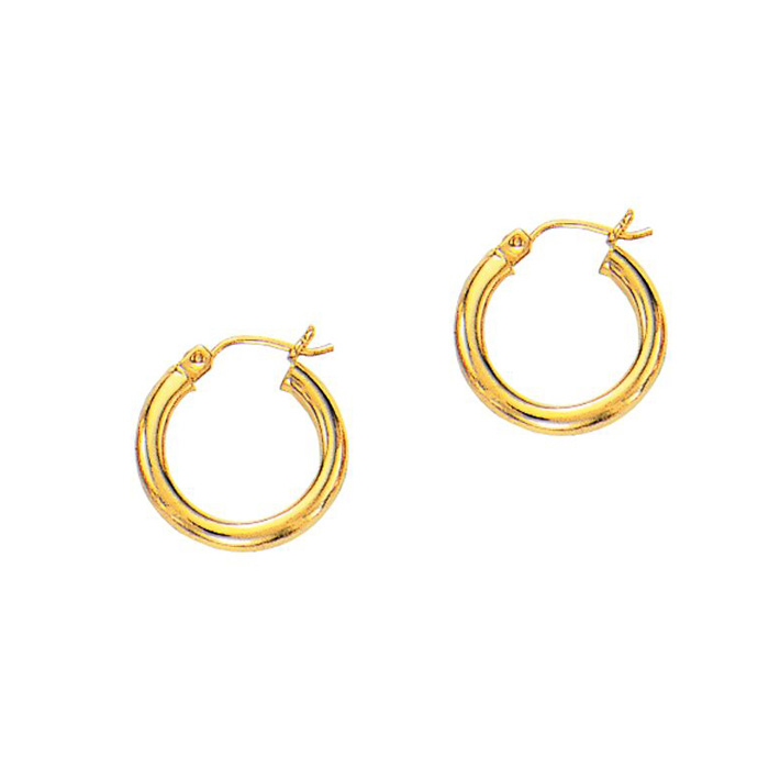 14K Yellow Gold (1.2 g) Polish Finished 15mm Hoop Earrings w/ Hin