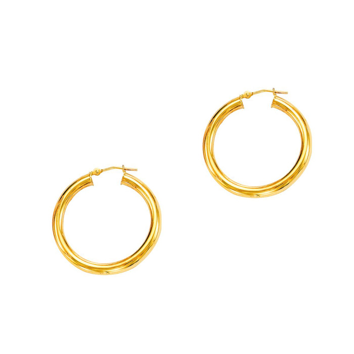 14K Yellow Gold (1.6 g) Polish Finished 20mm Hoop Earrings w/ Hin