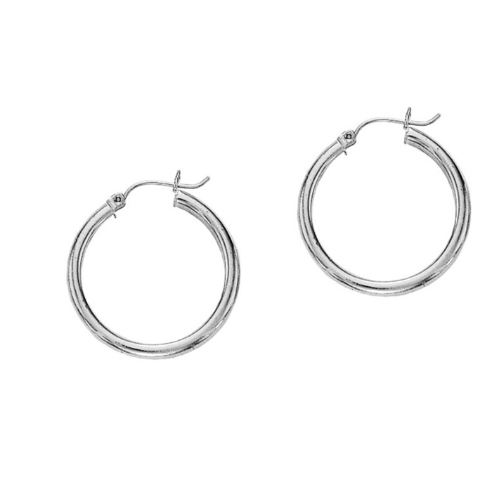 14K White Gold (1.6 g) Polish Finished 20mm Hoop Earrings w/ Hing
