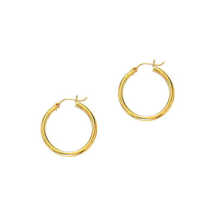 14K Yellow Gold (1.7 g) Polish Finished 25mm Hoop Earrings w/ Hin