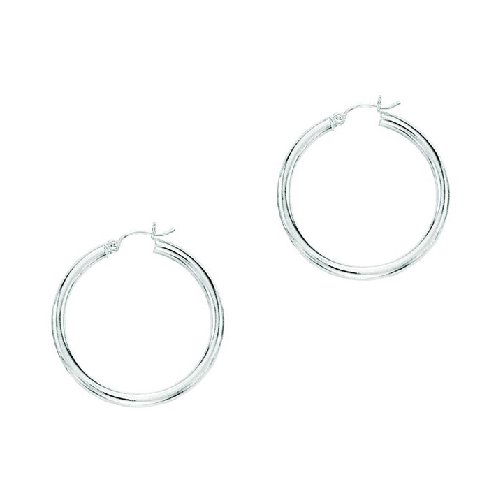 14K White Gold (1.7 g) Polish Finished 25mm Hoop Earrings w/ Hing