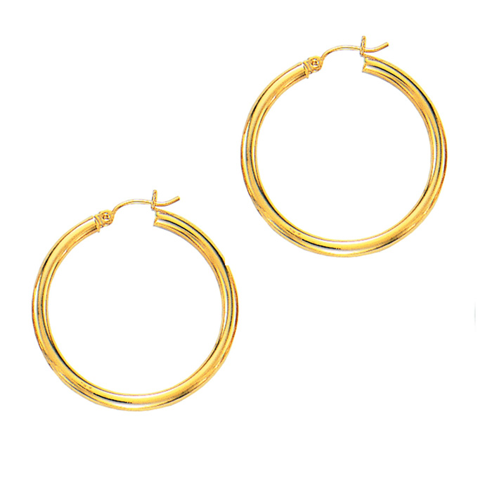 14K Yellow Gold (2.4 g) Polish Finished 30mm Hoop Earrings w/ Hin