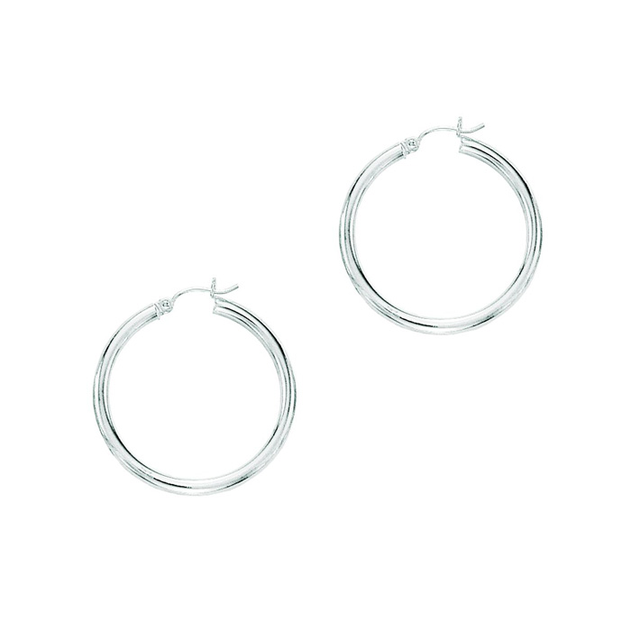 14K White Gold (2.4 g) Polish Finished 30mm Hoop Earrings w/ Hing