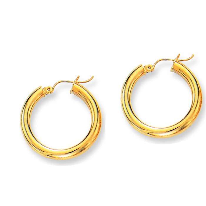 14K Yellow Gold (2.9 g) Polish Finished 25mm Hoop Earrings w/ Hin
