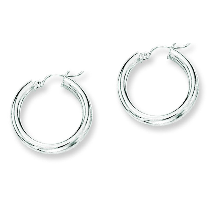 14K White Gold (2.9 g) Polish Finished 25mm Hoop Earrings w/ Hing
