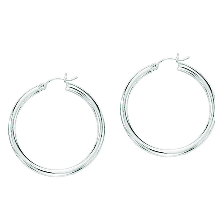 14K White Gold (2.9 g) Polish Finished 40mm Hoop Earrings w/ Hing