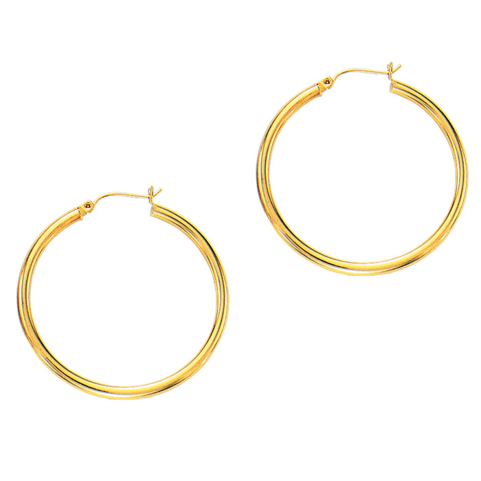 14K Yellow Gold (2.9 g) Polish Finished 40mm Hoop Earrings w/ Hin