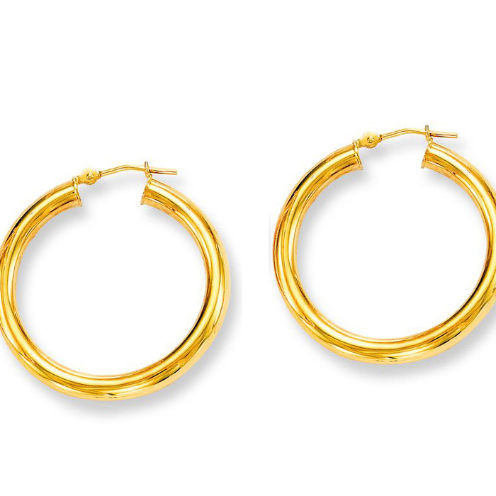 14K Yellow Gold (3.6 g) Polish Finished 30mm Hoop Earrings w/ Hin