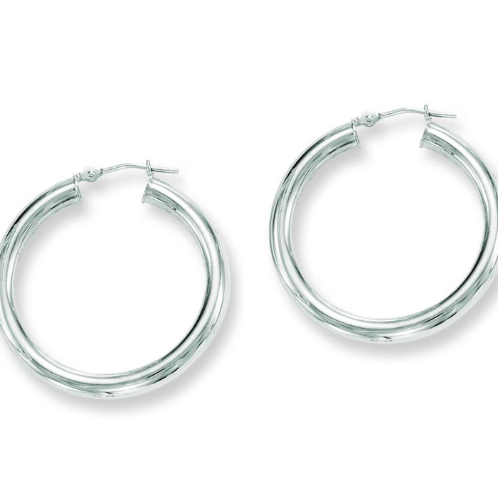 14K White Gold (3.4 g) Polish Finished 30mm Hoop Earrings w/ Hing