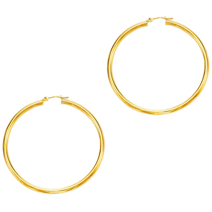 14K Yellow Gold (3.4 g) Polish Finished 50mm Hoop Earrings w/ Hin