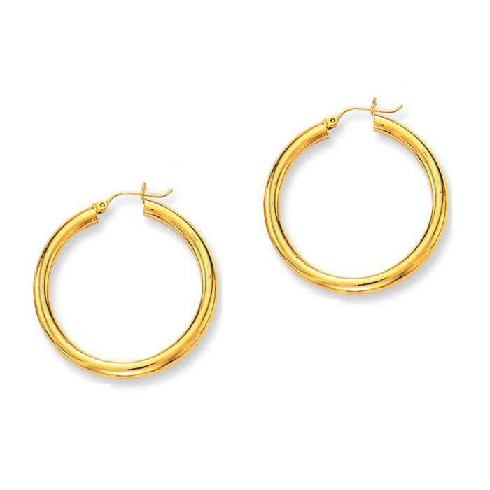 14K Yellow Gold (4.3 g) Polish Finished 40mm Hoop Earrings w/ Hin