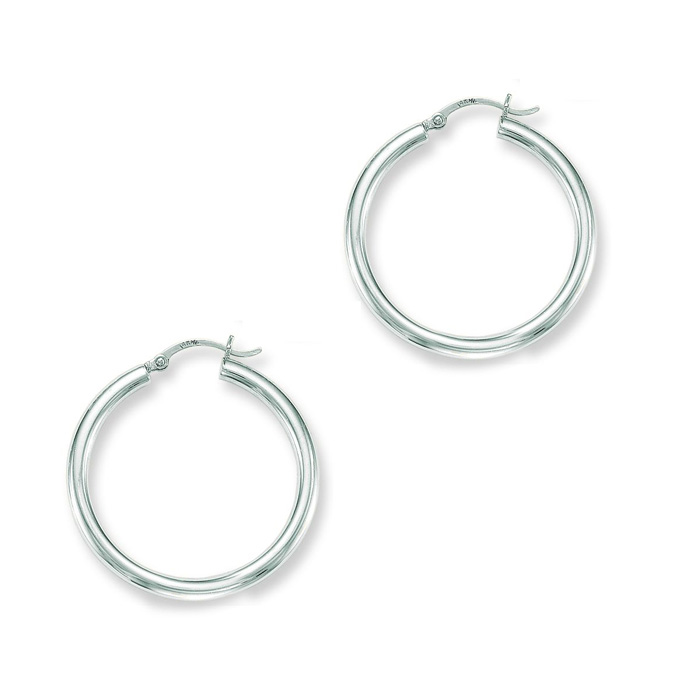 14K White Gold (4.6 g) Polish Finished 40mm Hoop Earrings w/ Hing