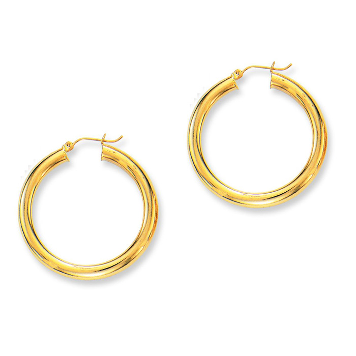 14K Yellow Gold (5.9 g) Polish Finished 40mm Hoop Earrings w/ Hin
