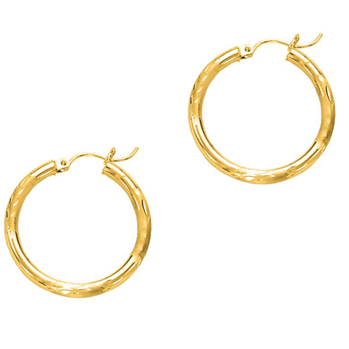 14K Yellow Gold (1.3 g) Polish Finished 25mm Diamond Cut Hoop Ear