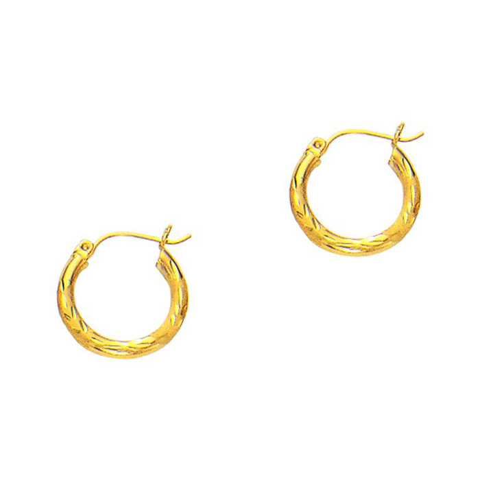 14K Yellow Gold (1.3 g) Polish Finished 15mm Diamond Cut Hoop Ear