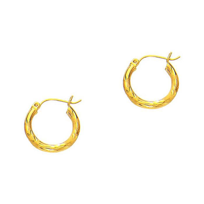 14K Yellow Gold (1.3 g) Polish Finished 15mm Diamond Cut Hoop Earrings w/ Hinge w/ Notched Closure by SuperJeweler