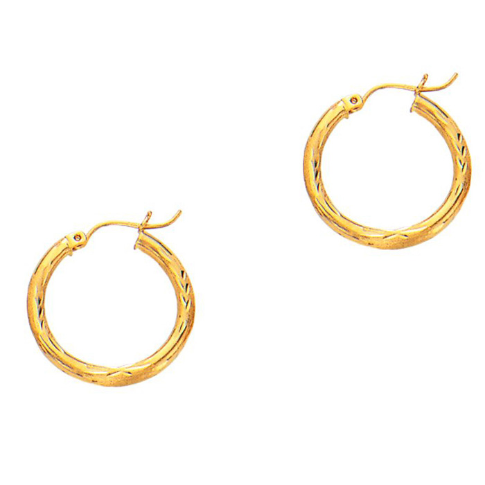 14K Yellow Gold (1.4 g) Polish Finished 20mm Diamond Cut Hoop Ear