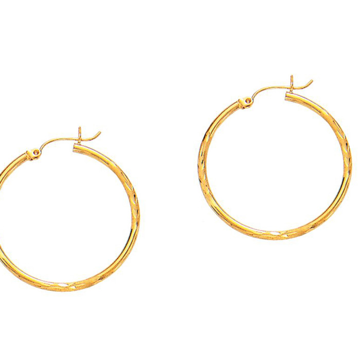 14K Yellow Gold (1.5 g) Polish Finished 30mm Diamond Cut Hoop Ear
