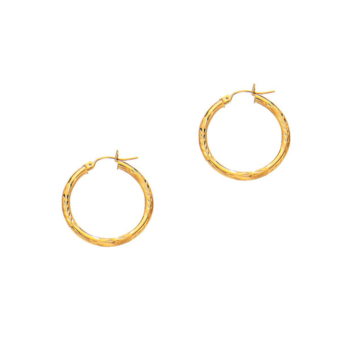 14K Yellow Gold (1.7 g) Polish Finished 25mm Diamond Cut Hoop Ear