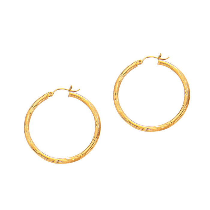 14K Yellow Gold (2.3 g) Polish Finished 35mm Diamond Cut Hoop Ear