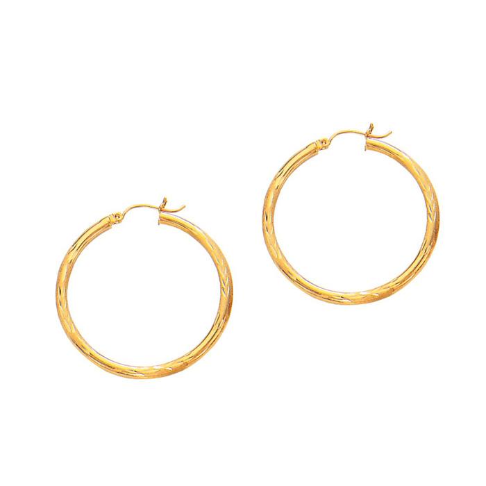 14K Yellow Gold (2.3 g) Polish Finished 35mm Diamond Cut Hoop Earrings w/ Hinge w/ Notched Closure by SuperJeweler