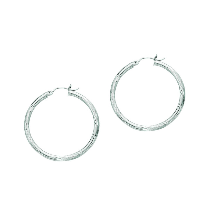 14K White Gold (2.3 g) Polish Finished 35mm Diamond Cut Hoop Earr