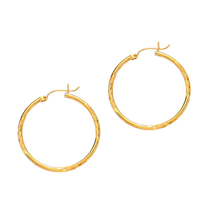 14K Yellow Gold (2.7 g) Polish Finished 45mm Diamond Cut Hoop Ear