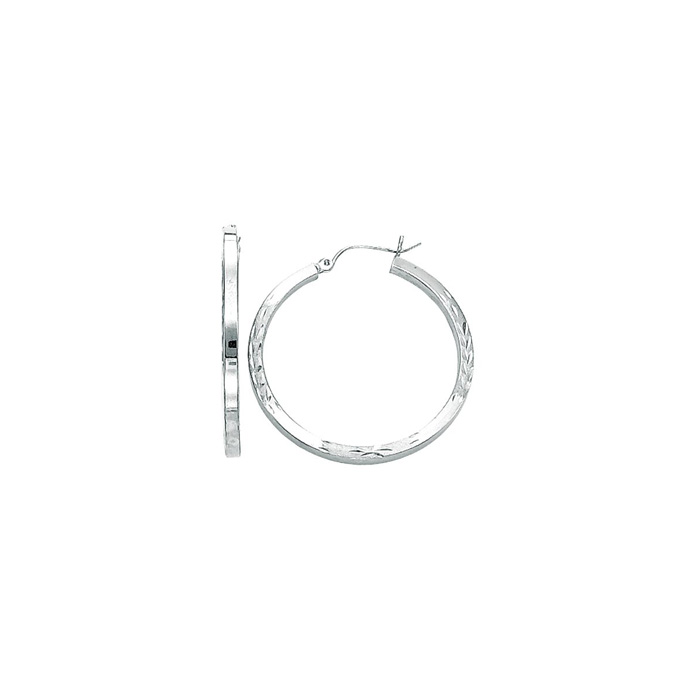 14K White Gold (2.8 g) Polish Finished 35mm Diamond Cut Hoop Earr