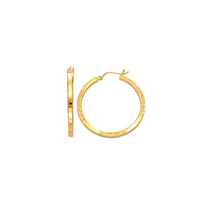 14K Yellow Gold (2.9 g) Polish Finished 35mm Diamond Cut Hoop Ear