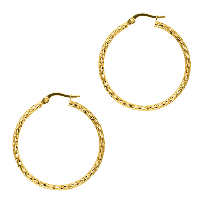 14K Yellow Gold (1.8 g) Polish Finished 27mm etched Hoop Earrings