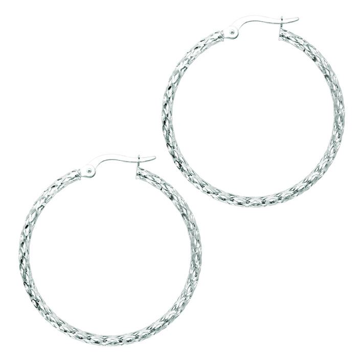14K White Gold (1.8 g) Polish Finished 27mm Etched Hoop Earrings
