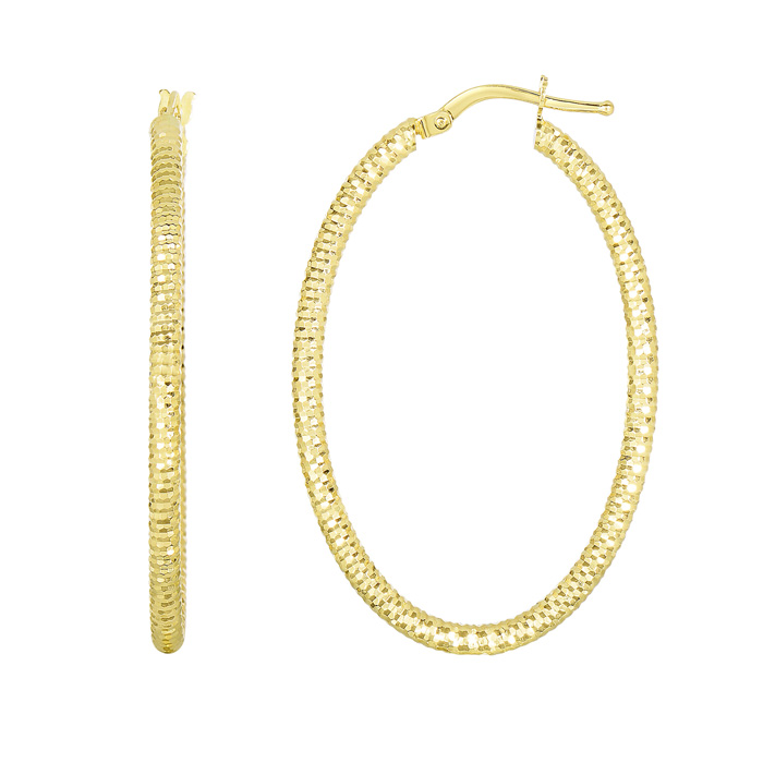 14K Yellow Gold (2.2 g) Polish Finished 36mm Textured Hoop Earrin