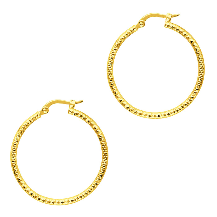 14K Yellow Gold (2.3 g) Polish Finished 25mm Etched Hoop Earrings