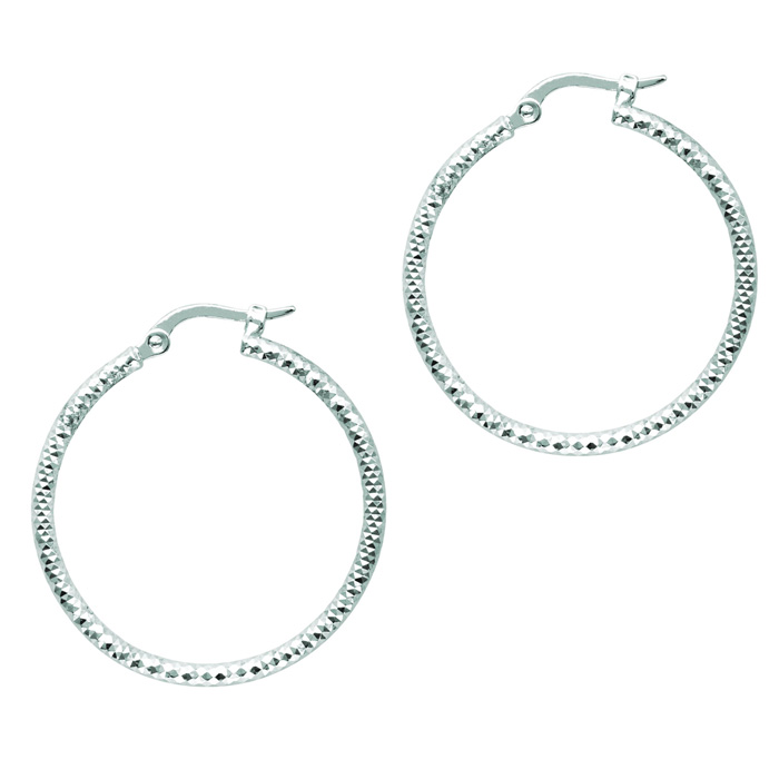 14K White Gold (2.3 g) Polish Finished 25mm Etched Hoop Earrings