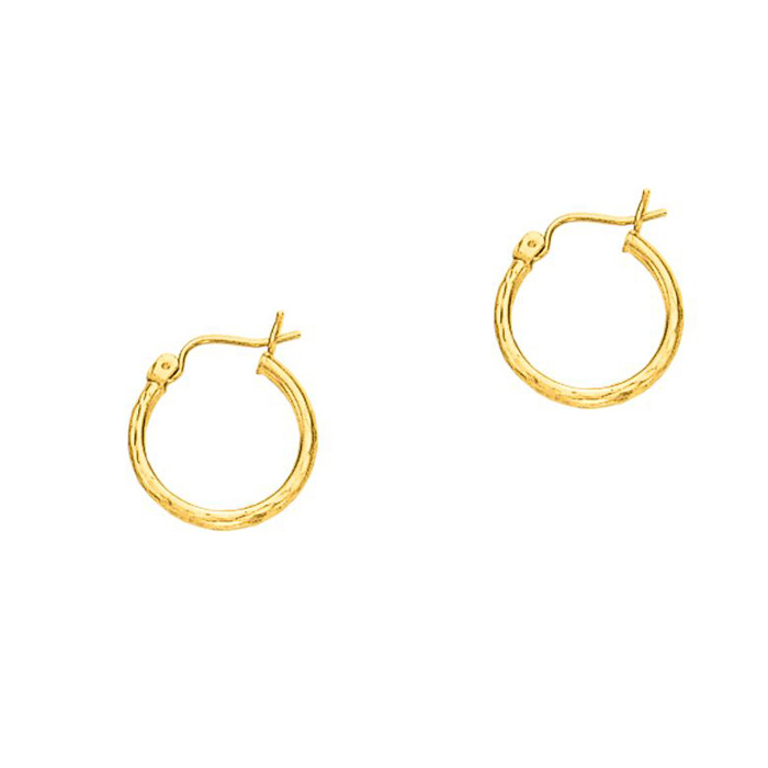 14K Yellow Gold (0.9 g) Polish Finished 15mm Etched Hoop Earrings