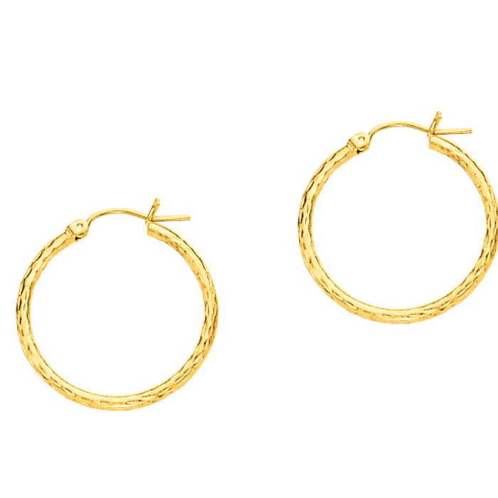 14K Yellow Gold (1.3 g) Polish Finished 25mm Etched Hoop Earrings