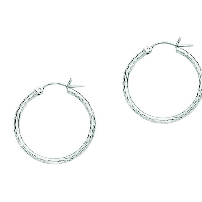 14K White Gold (1.3 g) Polish Finished 25mm Etched Hoop Earrings w/ Hinge w/ Notched Closure by SuperJeweler
