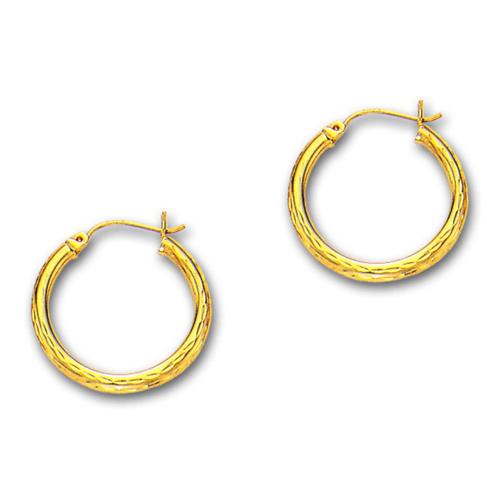 14K Yellow Gold (1.7 g) Polish Finished 25mm Etched Hoop Earrings w/ Hinge w/ Notched Closure by SuperJeweler
