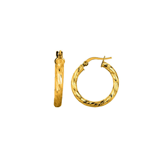 14K Yellow Gold (2 g) Polish Finished 15mm Etched Hoop Earrings w