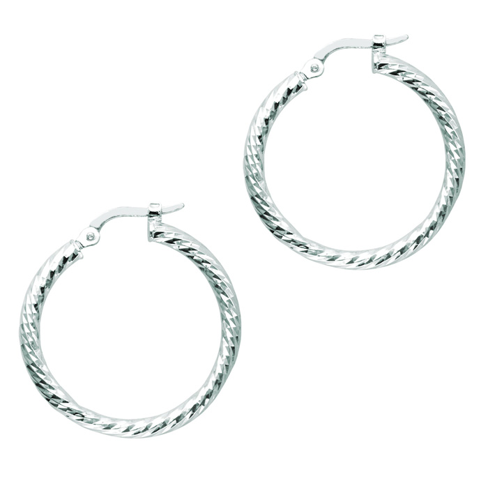 14K White Gold (2.2 g) Polish Finished 22mm Etched Hoop Earrings