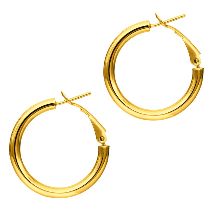 14K Yellow Gold (2.4 g) Polish Finished 20mm Hoop Earrings w/ Ome